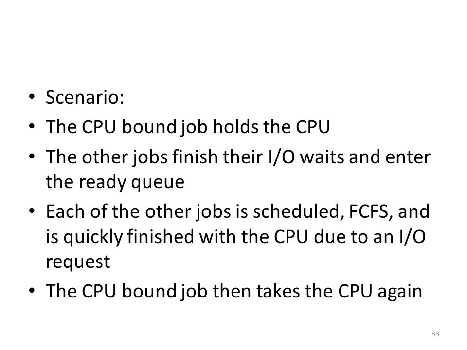 Scenario: The CPU bound job holds the CPU. The other jobs finish their I/O waits and enter the ready queue.