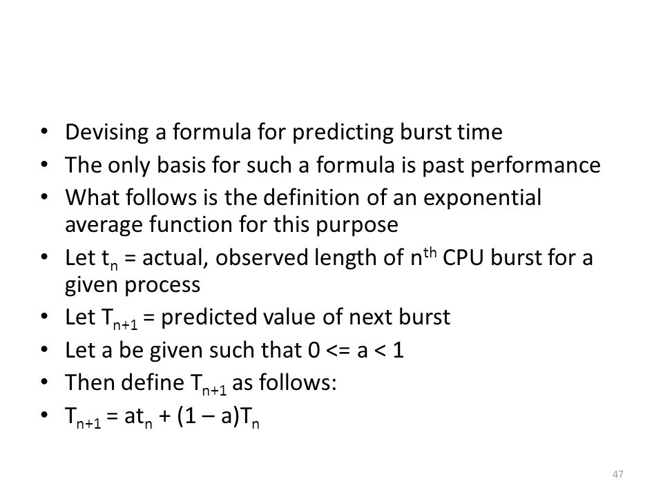 Devising a formula for predicting burst time