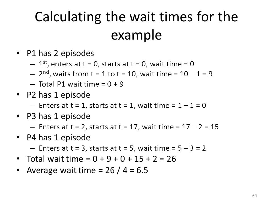 Calculating the wait times for the example