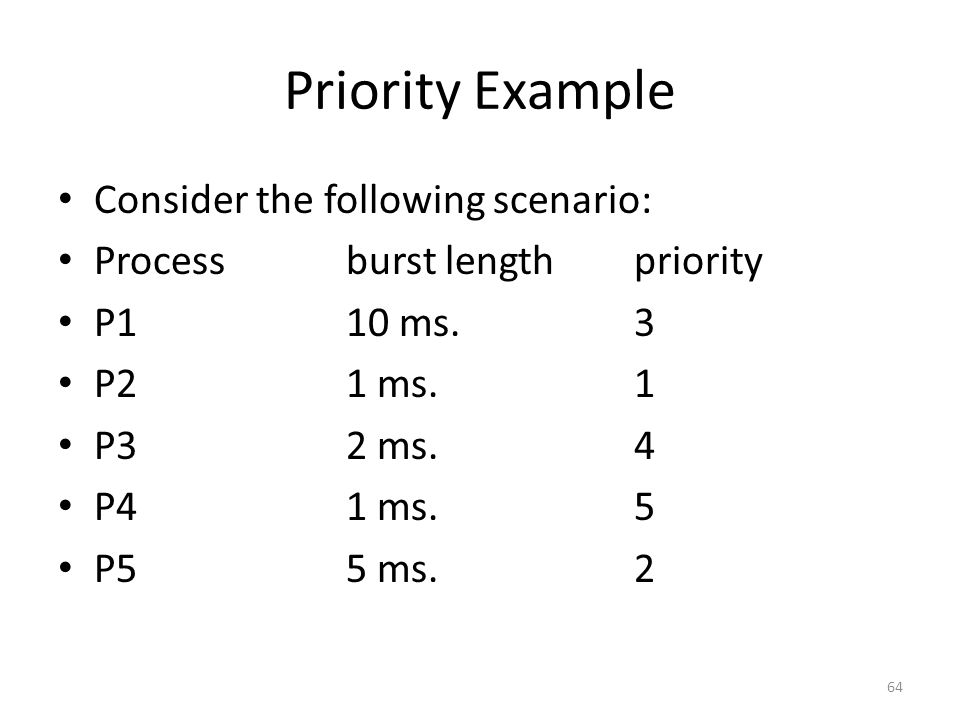 Priority Example Consider the following scenario: