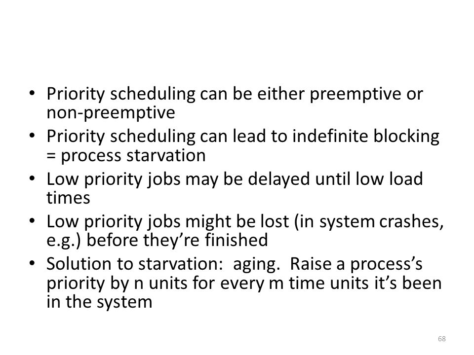 Priority scheduling can be either preemptive or non-preemptive