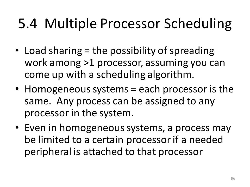 5.4 Multiple Processor Scheduling