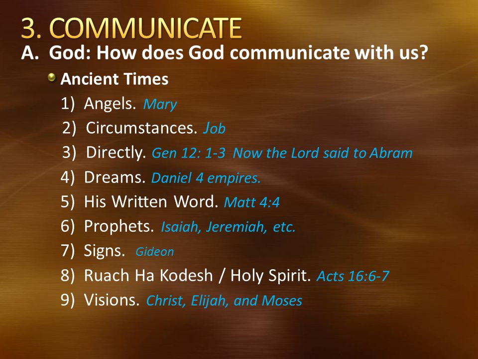 3. COMMUNICATE A. God: How does God communicate with us Ancient Times