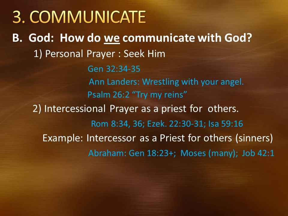 3. COMMUNICATE B. God: How do we communicate with God
