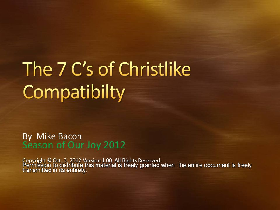 The 7 C's of Christlike Compatibilty