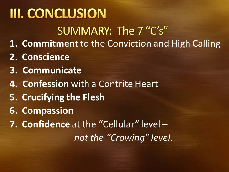 III. CONCLUSION SUMMARY: The 7 C's