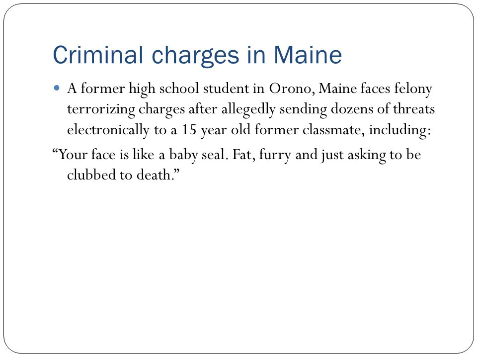 Criminal charges in Maine