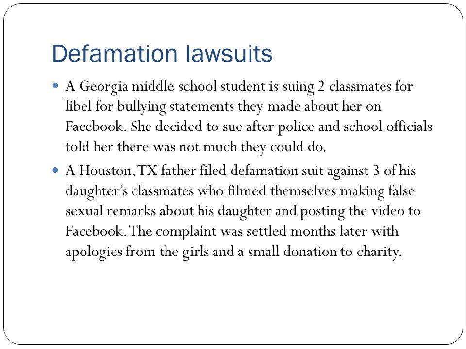 Defamation lawsuits