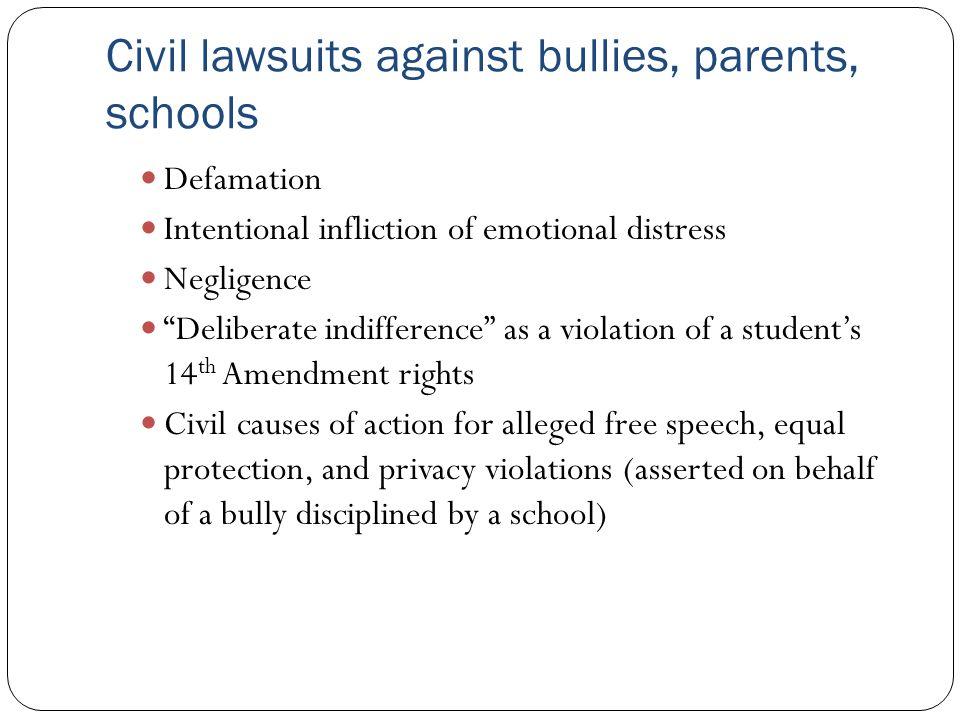 Civil lawsuits against bullies, parents, schools