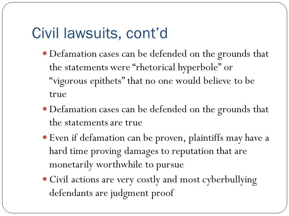 Civil lawsuits, cont'd