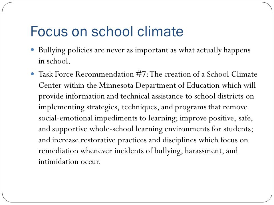 Focus on school climate