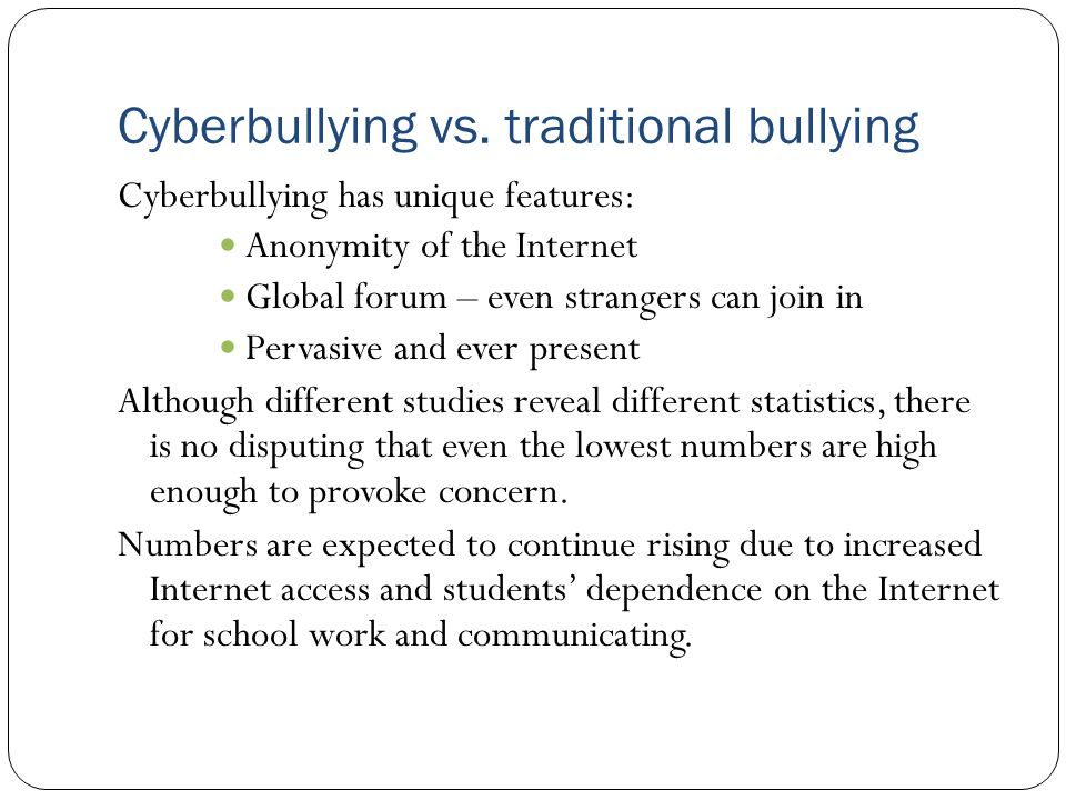 traditional bullying vs Medium (traditional vs cyber), publicity (public vs private), and bully's anonymity  (anonymous vs not anonymous) for the perceived severity of hypothetical.