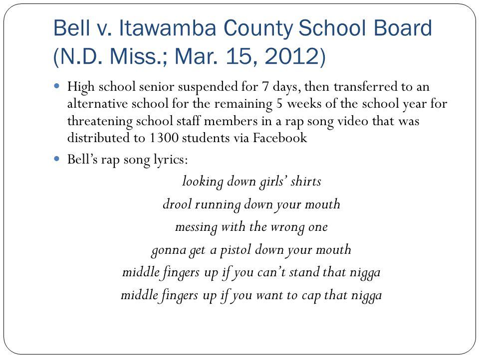 Bell v. Itawamba County School Board (N.D. Miss.; Mar. 15, 2012)