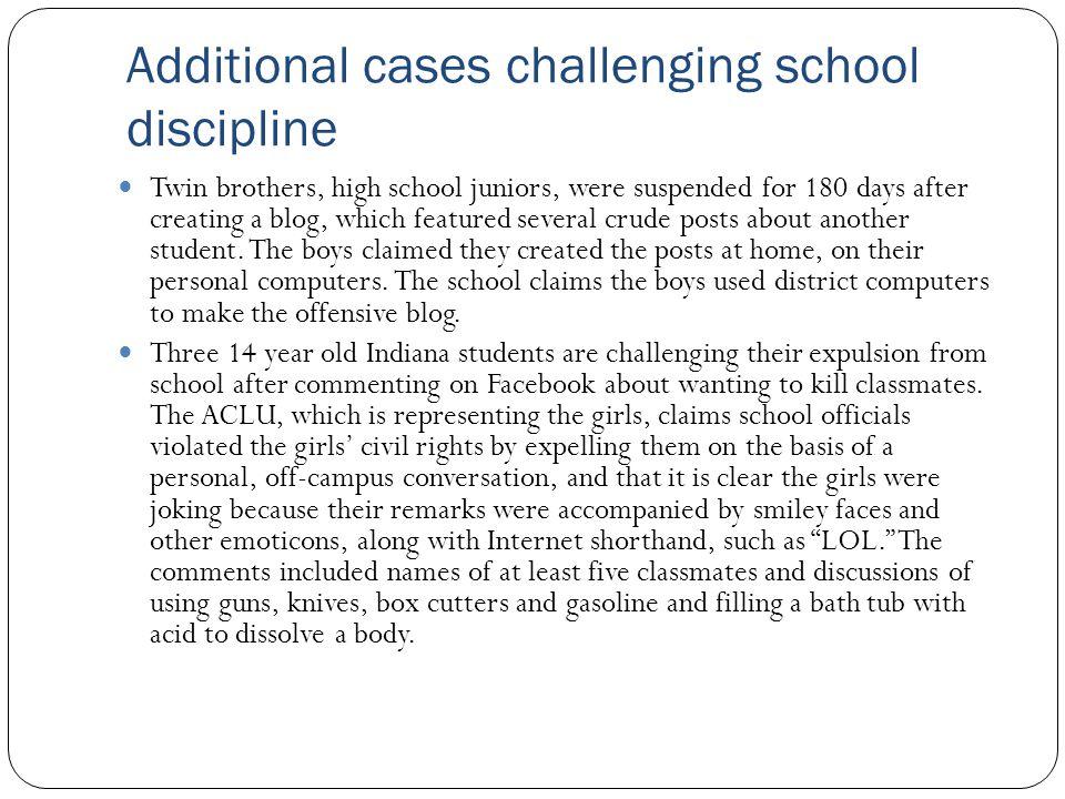 Additional cases challenging school discipline