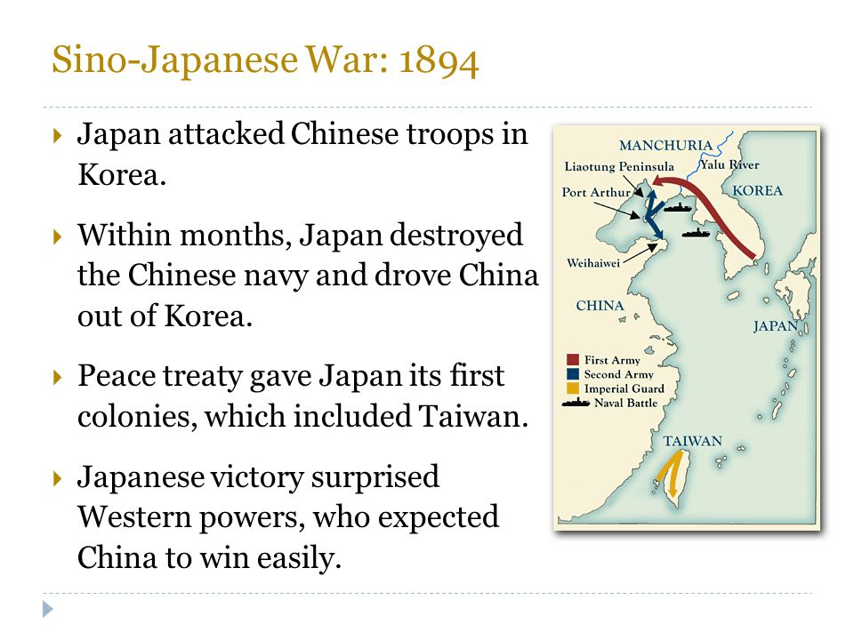Sino-Japanese War: 1894 Japan attacked Chinese troops in Korea.