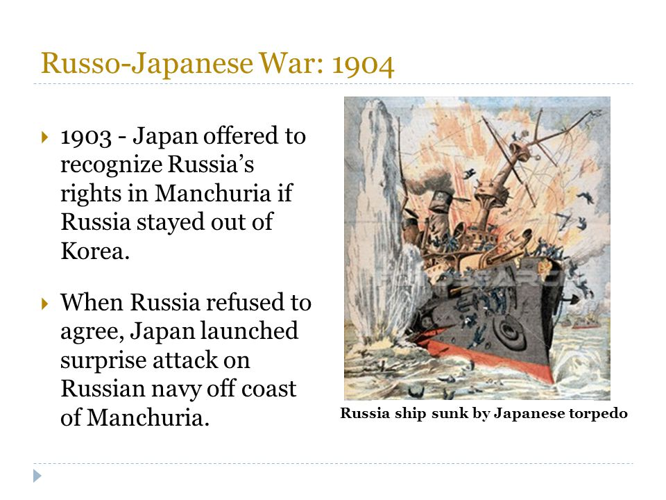 Russo-Japanese War: 1904 1903 - Japan offered to recognize Russia's rights in Manchuria if Russia stayed out of Korea.