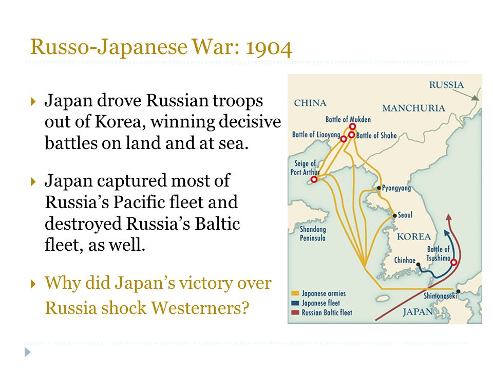 Russo-Japanese War: 1904 Japan drove Russian troops out of Korea, winning decisive battles on land and at sea.