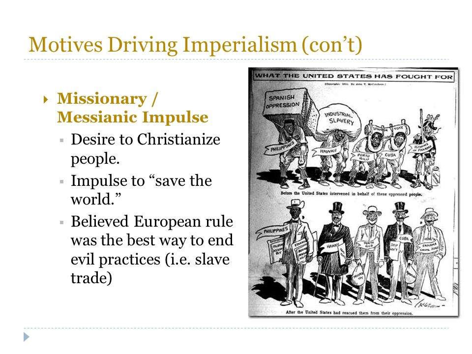 Motives Driving Imperialism (con't)