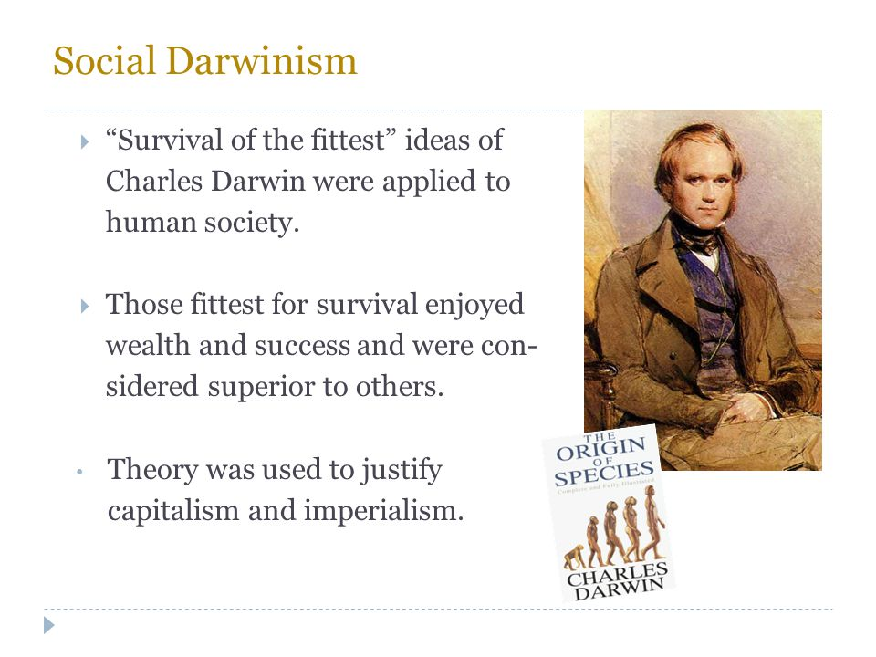Social Darwinism Survival of the fittest ideas of