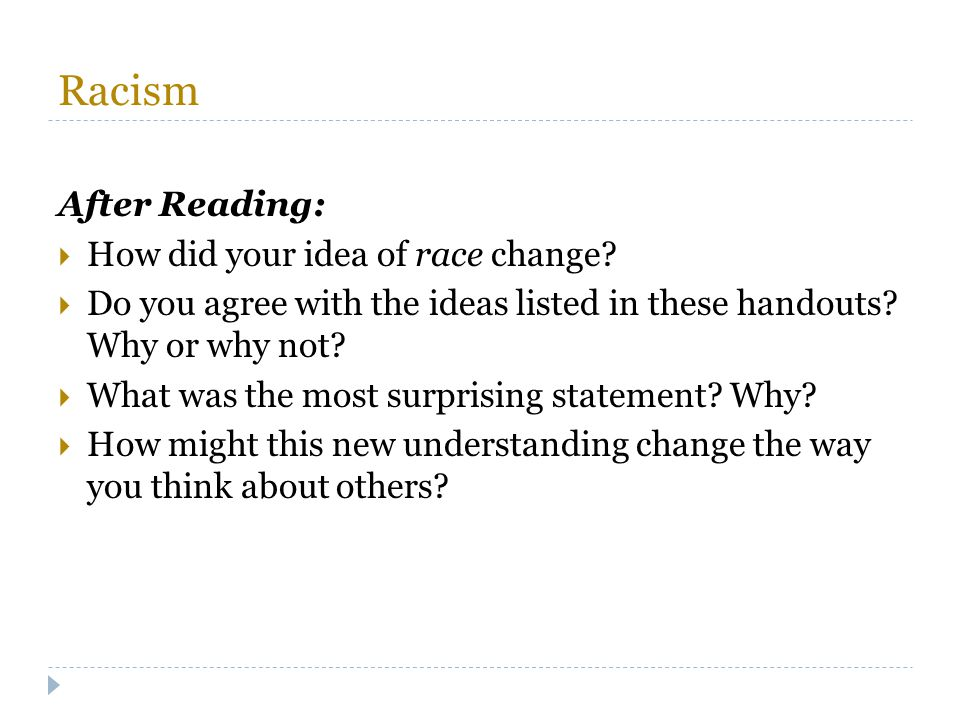 Racism After Reading: How did your idea of race change