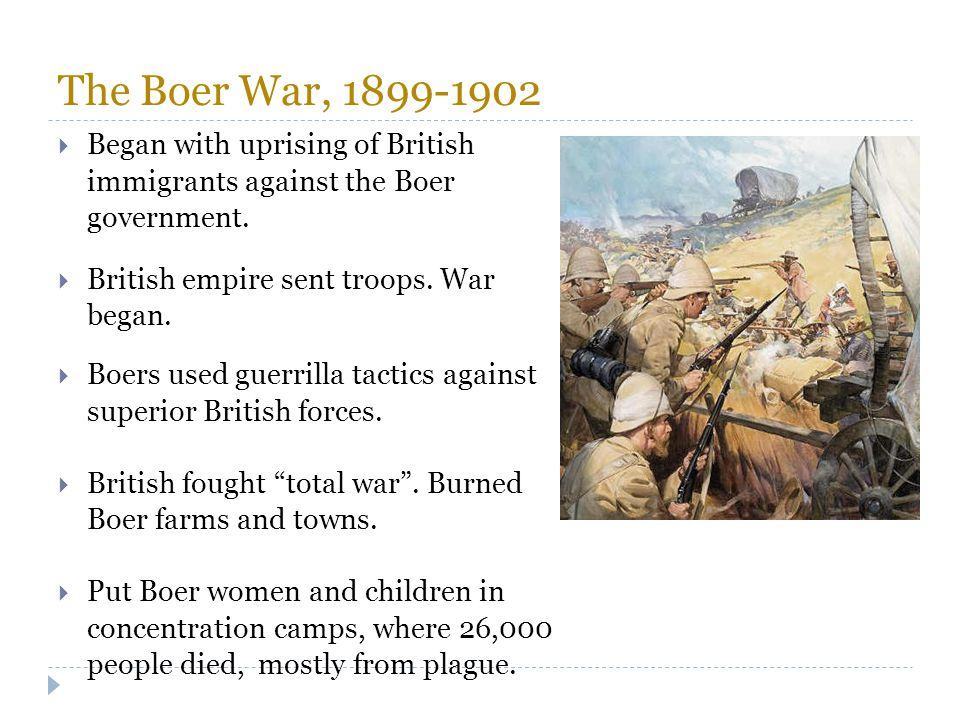 The Boer War, 1899-1902 Began with uprising of British