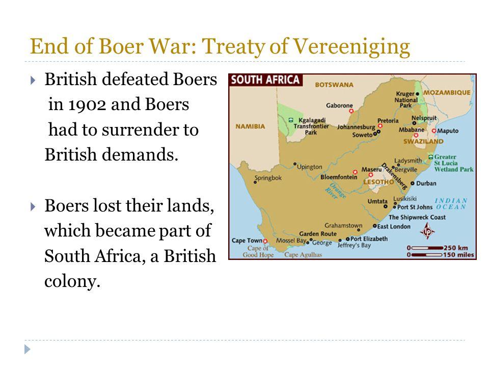 End of Boer War: Treaty of Vereeniging