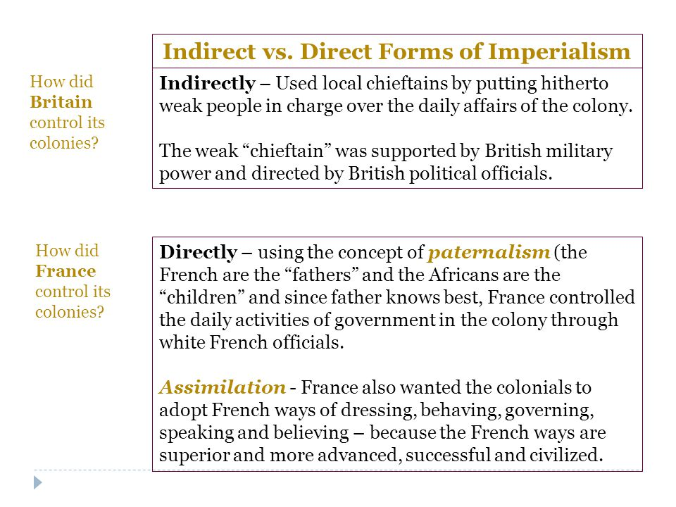 Indirect vs. Direct Forms of Imperialism