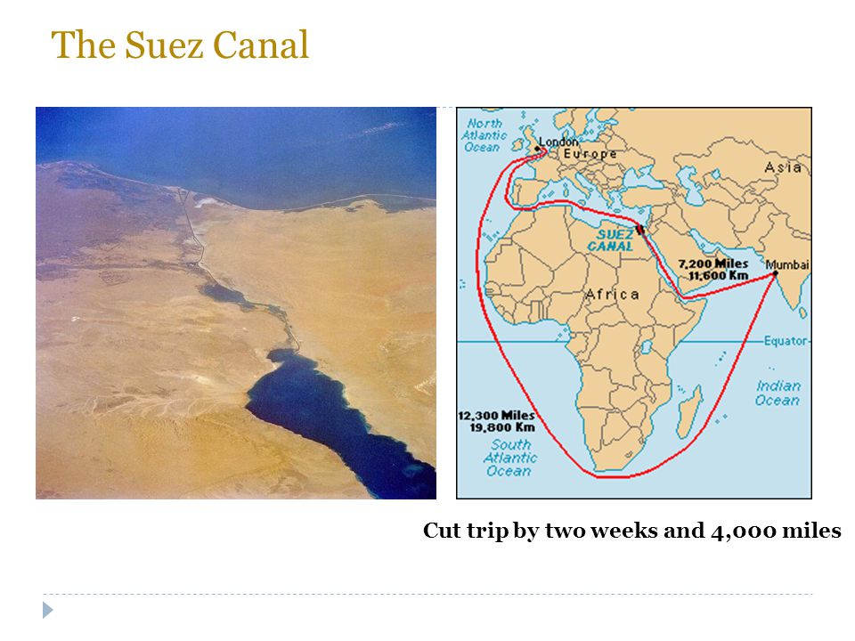The Suez Canal Cut trip by two weeks and 4,000 miles