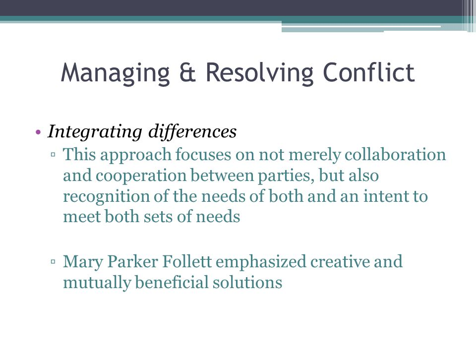 Managing & Resolving Conflict