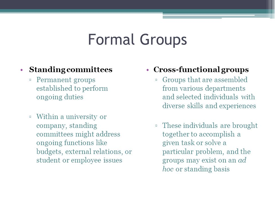 Formal Groups Standing committees Cross-functional groups