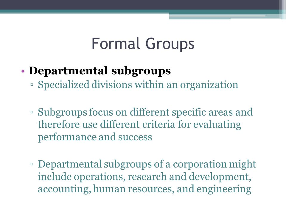 Formal Groups Departmental subgroups
