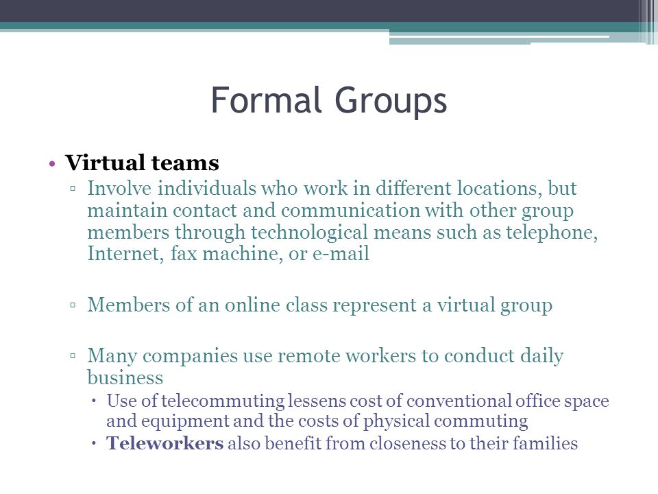 Formal Groups Virtual teams