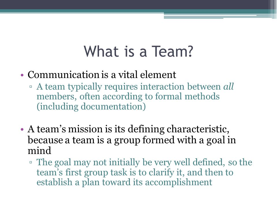 What is a Team Communication is a vital element