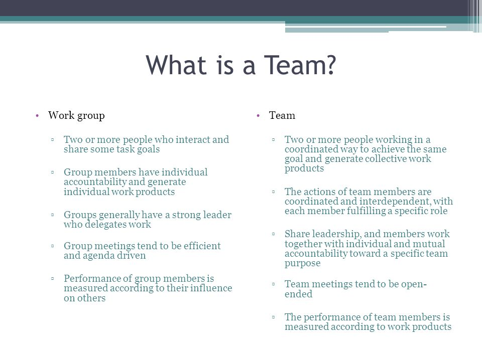 What is a Team Work group Team