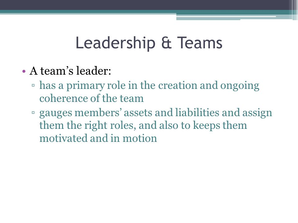 Leadership & Teams A team's leader: