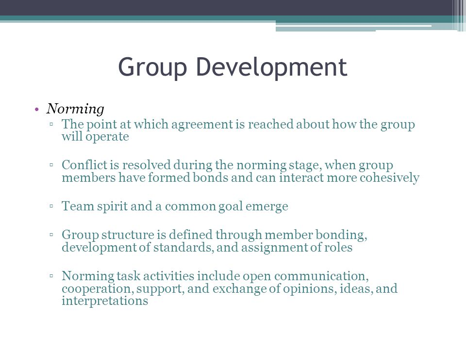 Group Development Norming