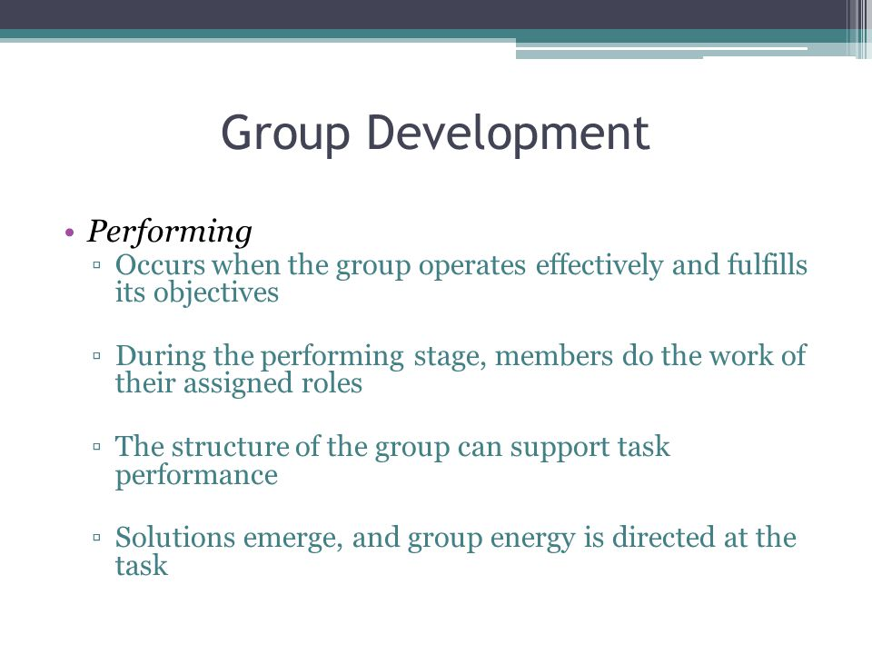 Group Development Performing