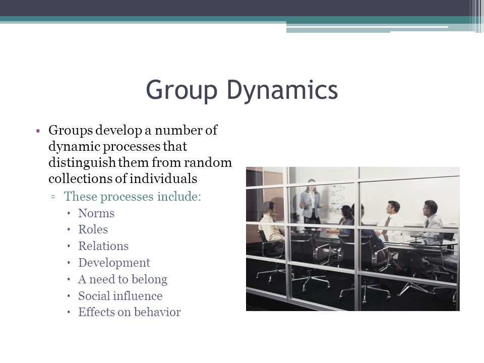 Group Dynamics Groups develop a number of dynamic processes that distinguish them from random collections of individuals.