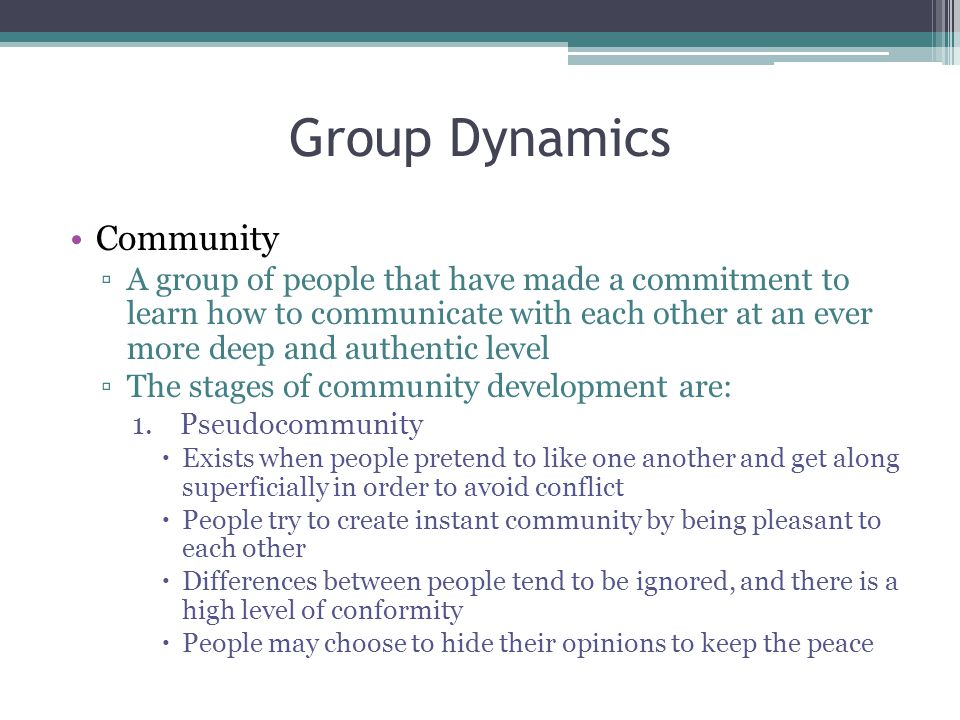 Group Dynamics Community