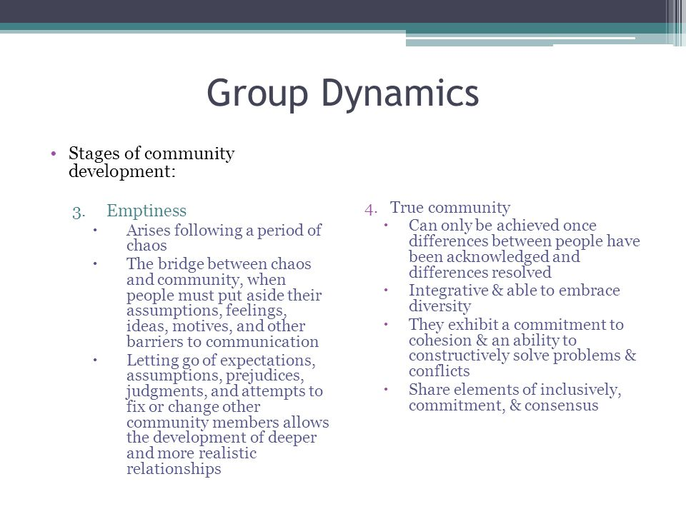 Group Dynamics Stages of community development: Emptiness