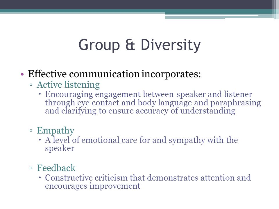 Group & Diversity Effective communication incorporates: