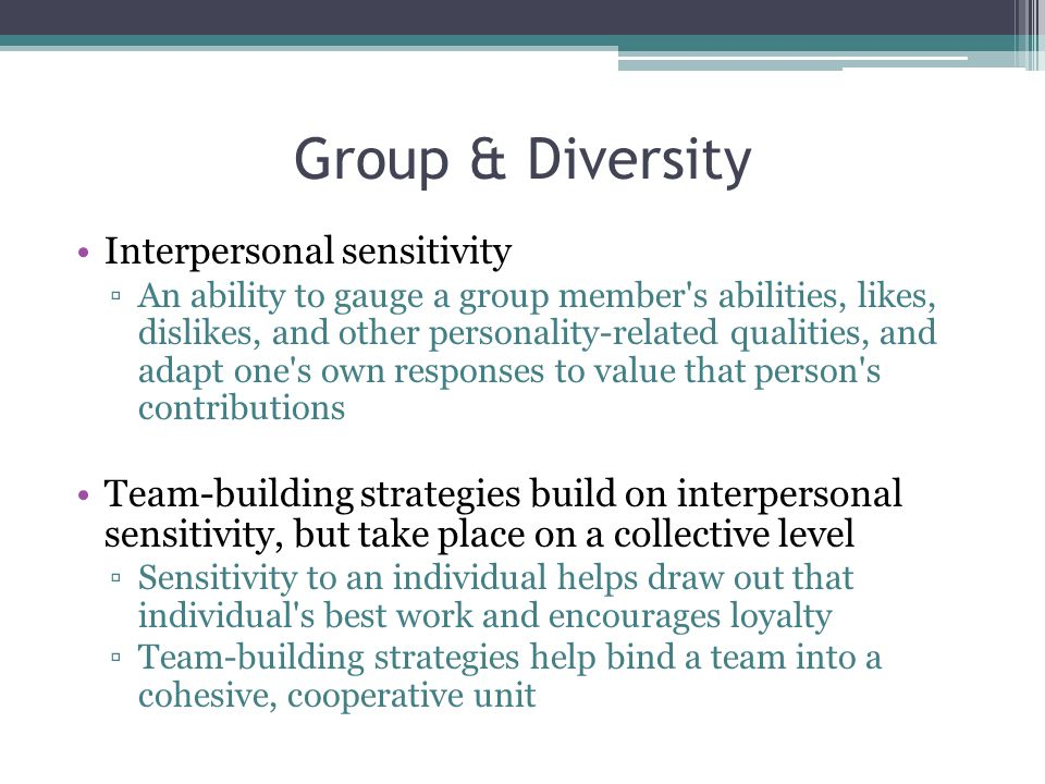 Group & Diversity Interpersonal sensitivity
