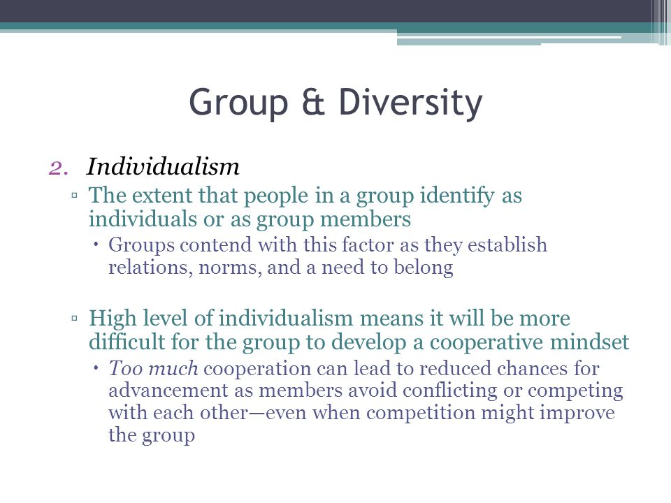 Group & Diversity Individualism