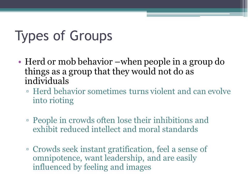 Types of Groups Herd or mob behavior –when people in a group do things as a group that they would not do as individuals.