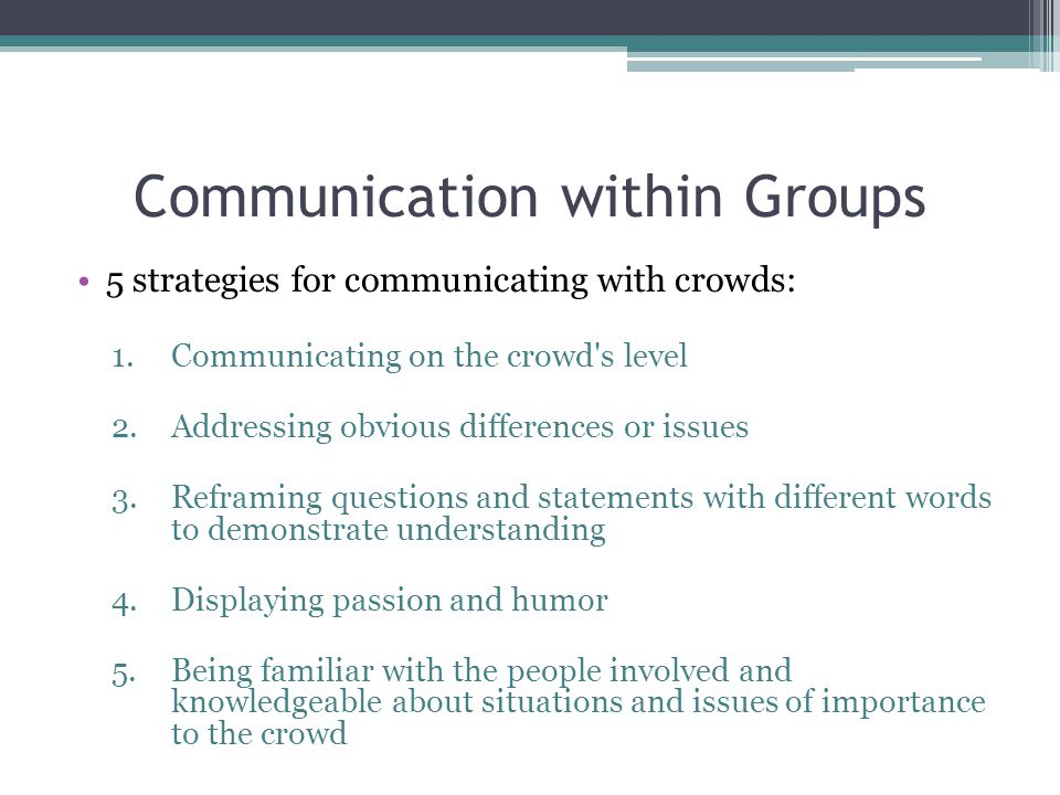 Communication within Groups