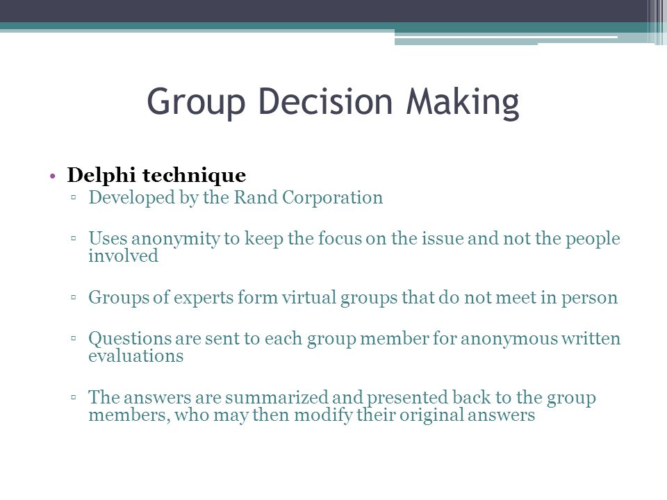 Group Decision Making Delphi technique