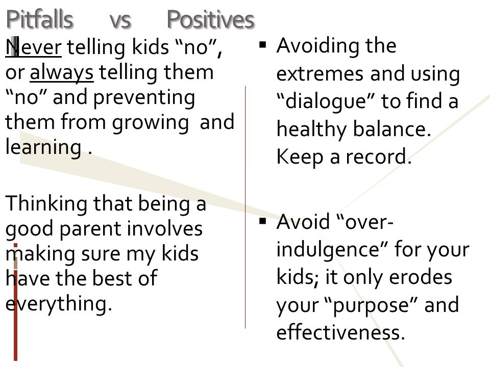 Pitfalls vs Positives Avoiding the extremes and using dialogue to find a healthy balance. Keep a record.