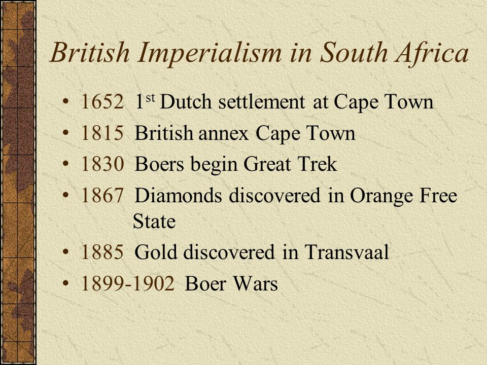 British Imperialism in South Africa