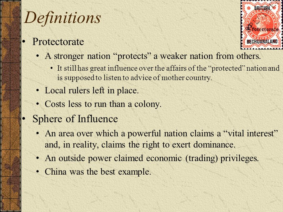 Definitions Protectorate Sphere of Influence