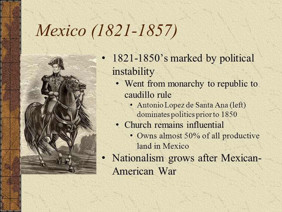 Mexico (1821-1857) 1821-1850's marked by political instability